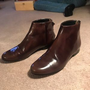 Theory Brown Chelsea Boots, Size 38.5